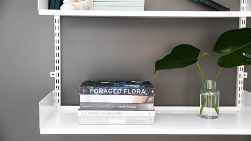 white shelf design with plant vase and plant
