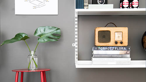 white shelf design with vintage radio