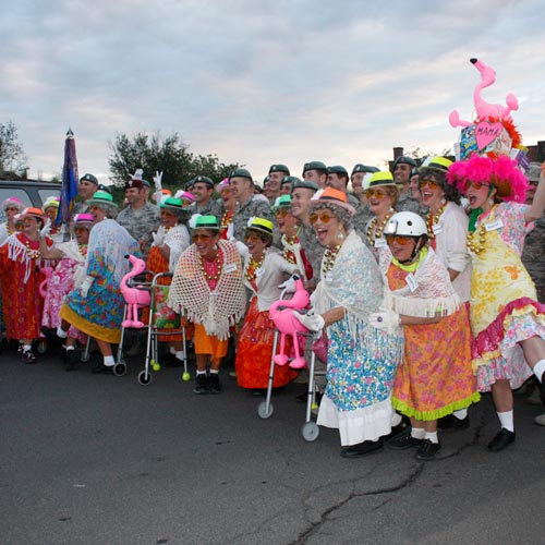 Women preparing for parade in costume