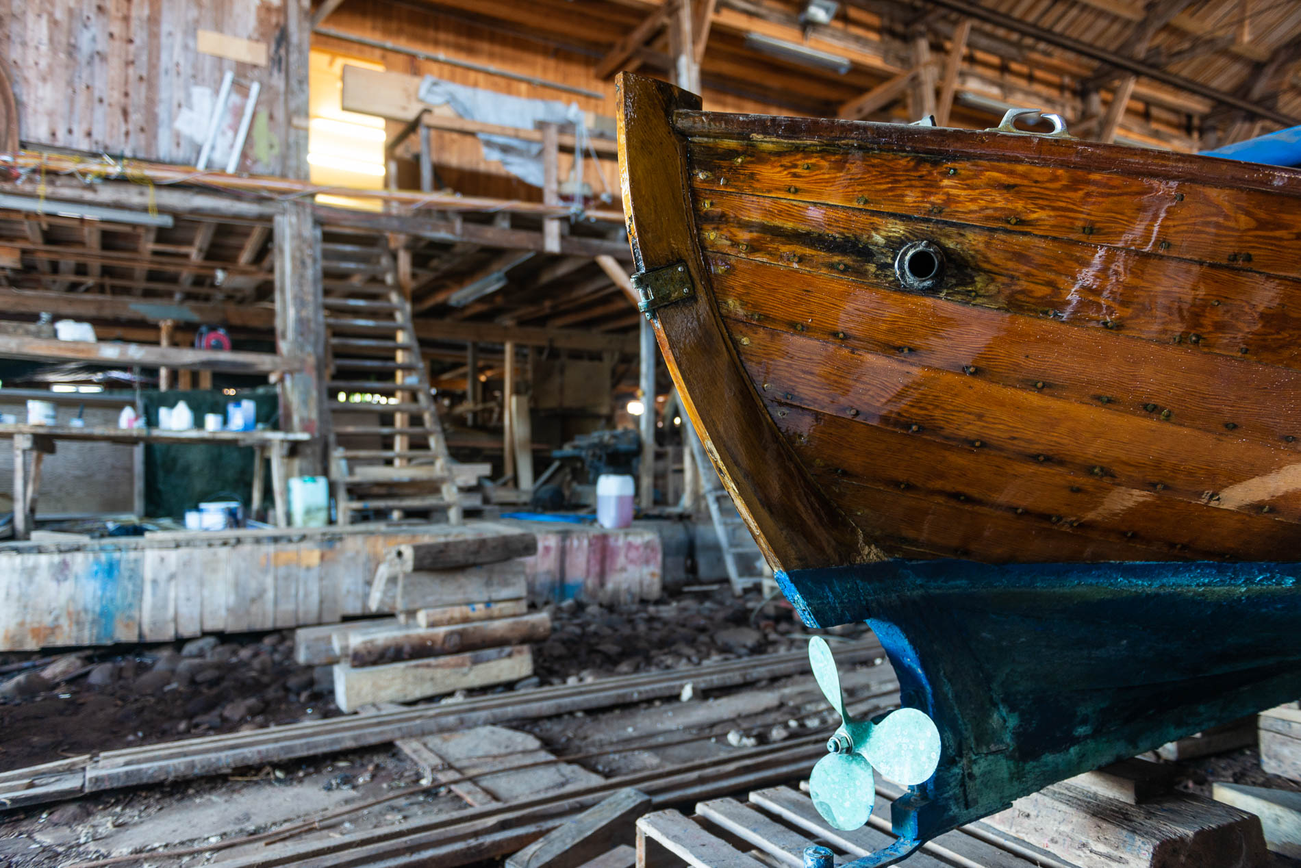 The wooden boat building