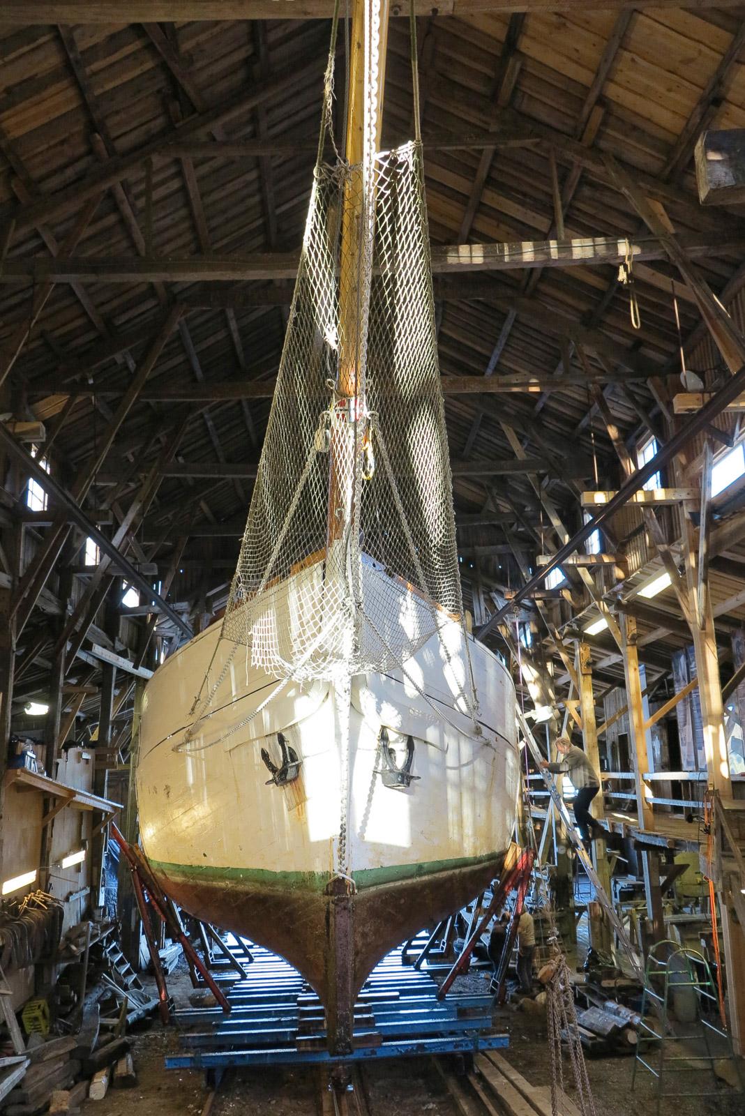 A boat at the shipyard