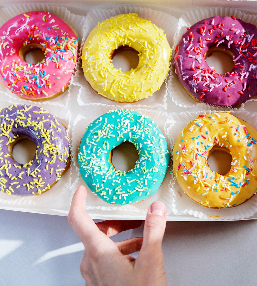 colourful donuts with sprinkles