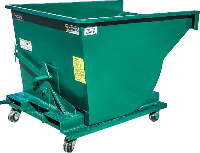A green metal easy-dump hopper