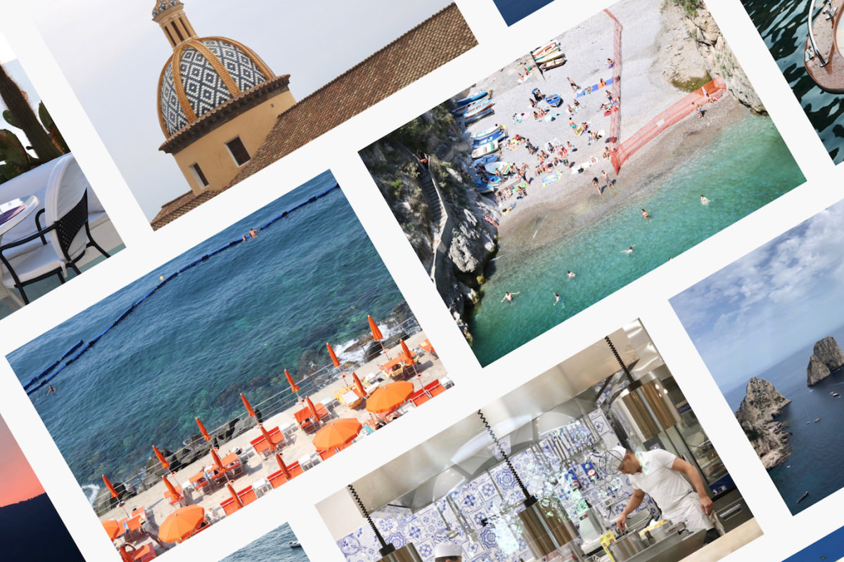 A collage of images showcasing different locations in the Amalfi Coast.