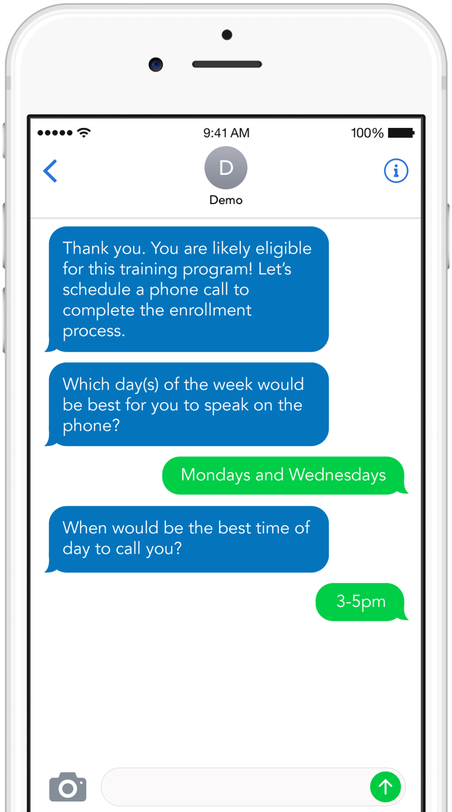 Call scheduling and text message reminders
