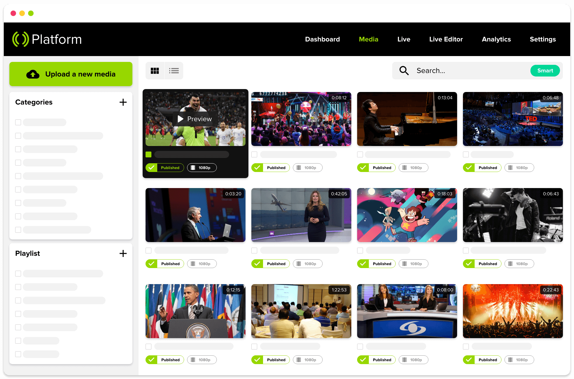 Mediastream Platform. OVP to manage and distribute video content.