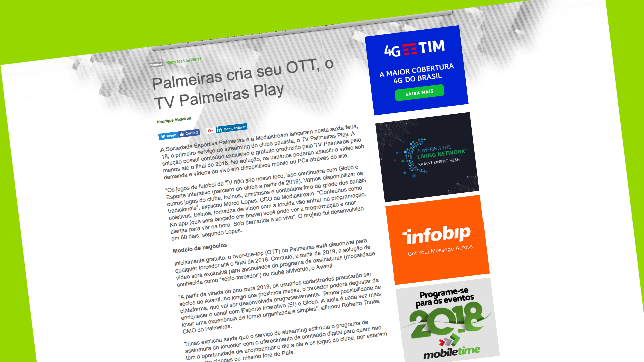 TVPalmeiras Play OTT desarrollada por Mediastream