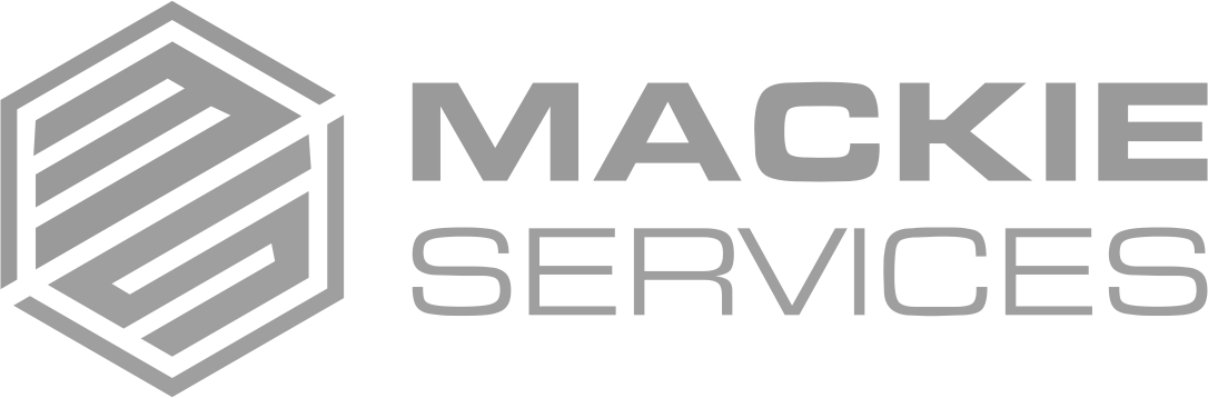 Mackie Down Arrow White Logo Design in The Woodlands