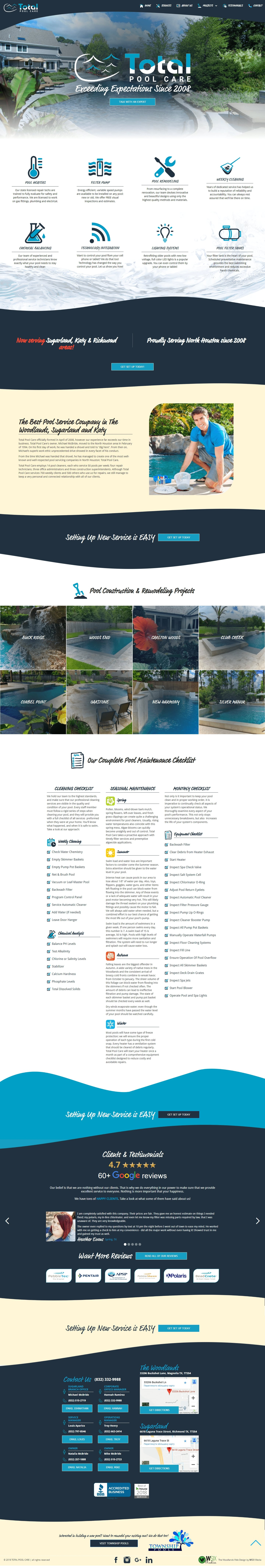 Total Pool Care The Woodlands Web Design Page