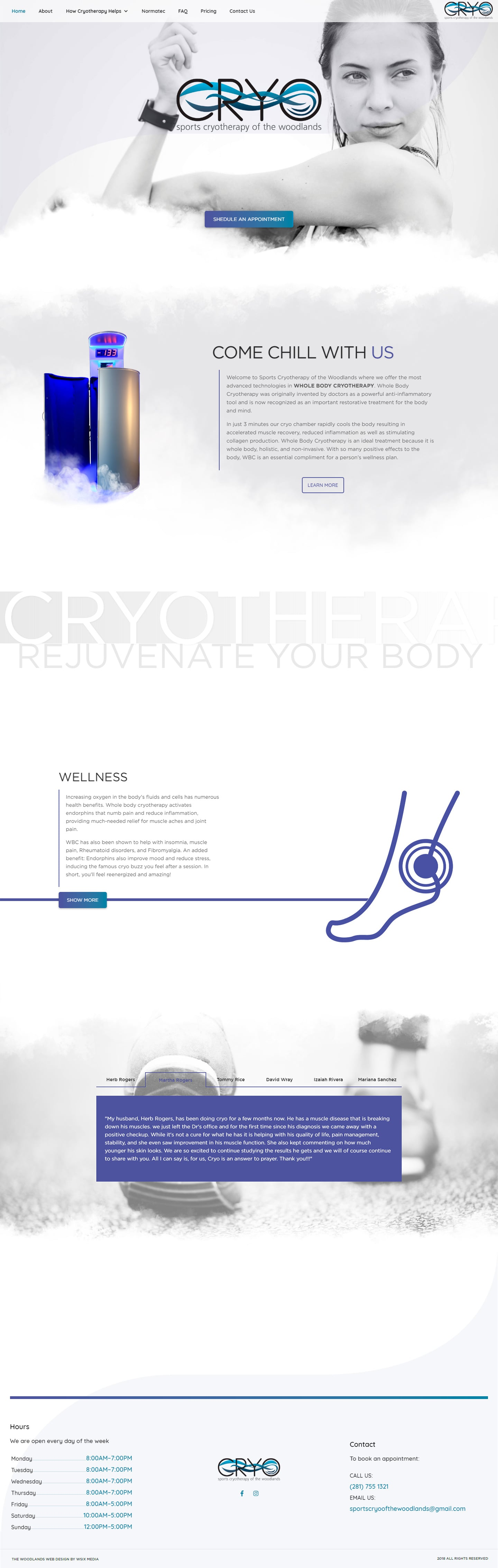 Cryo The Woodlands Web Design Page