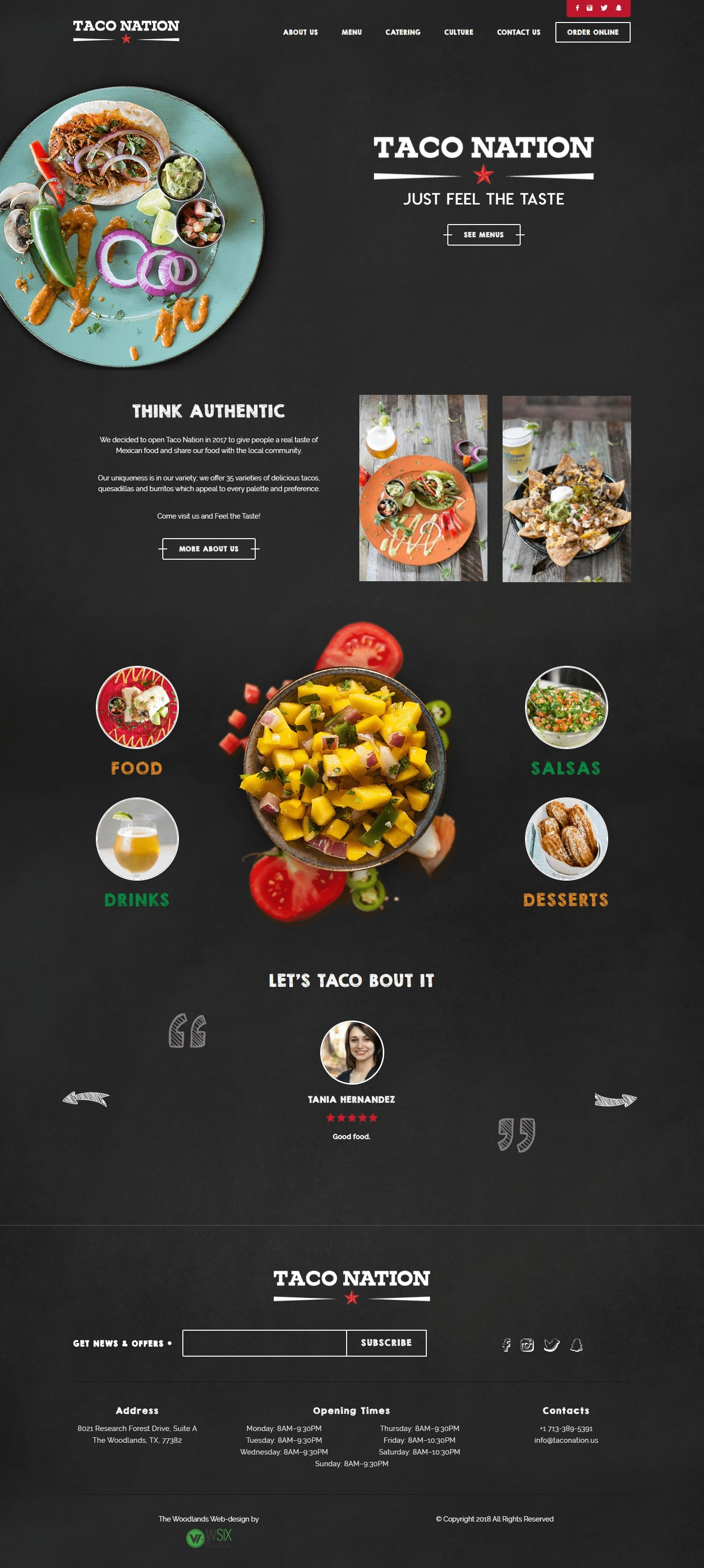 Taco Nation The Woodlands Web Design Page