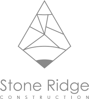 Stone Ridge Down Arrow White Logo Design in The Woodlands