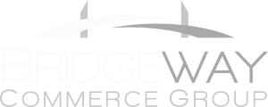 Bridgeway Down Arrow White Logo Design in The Woodlands