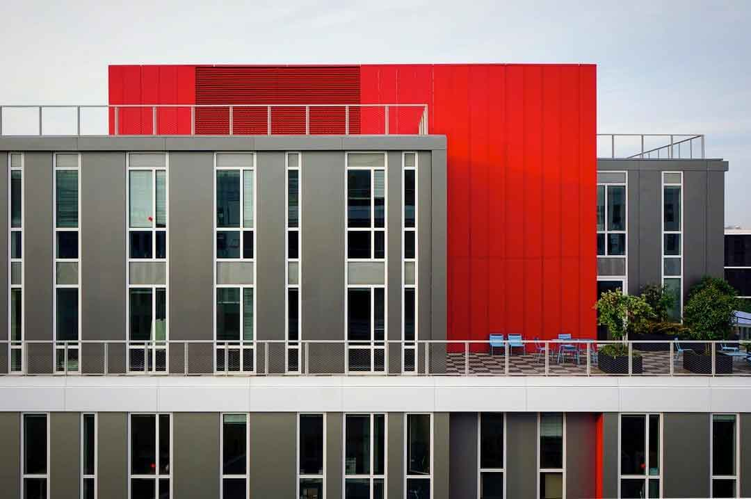 Abstract red gray building