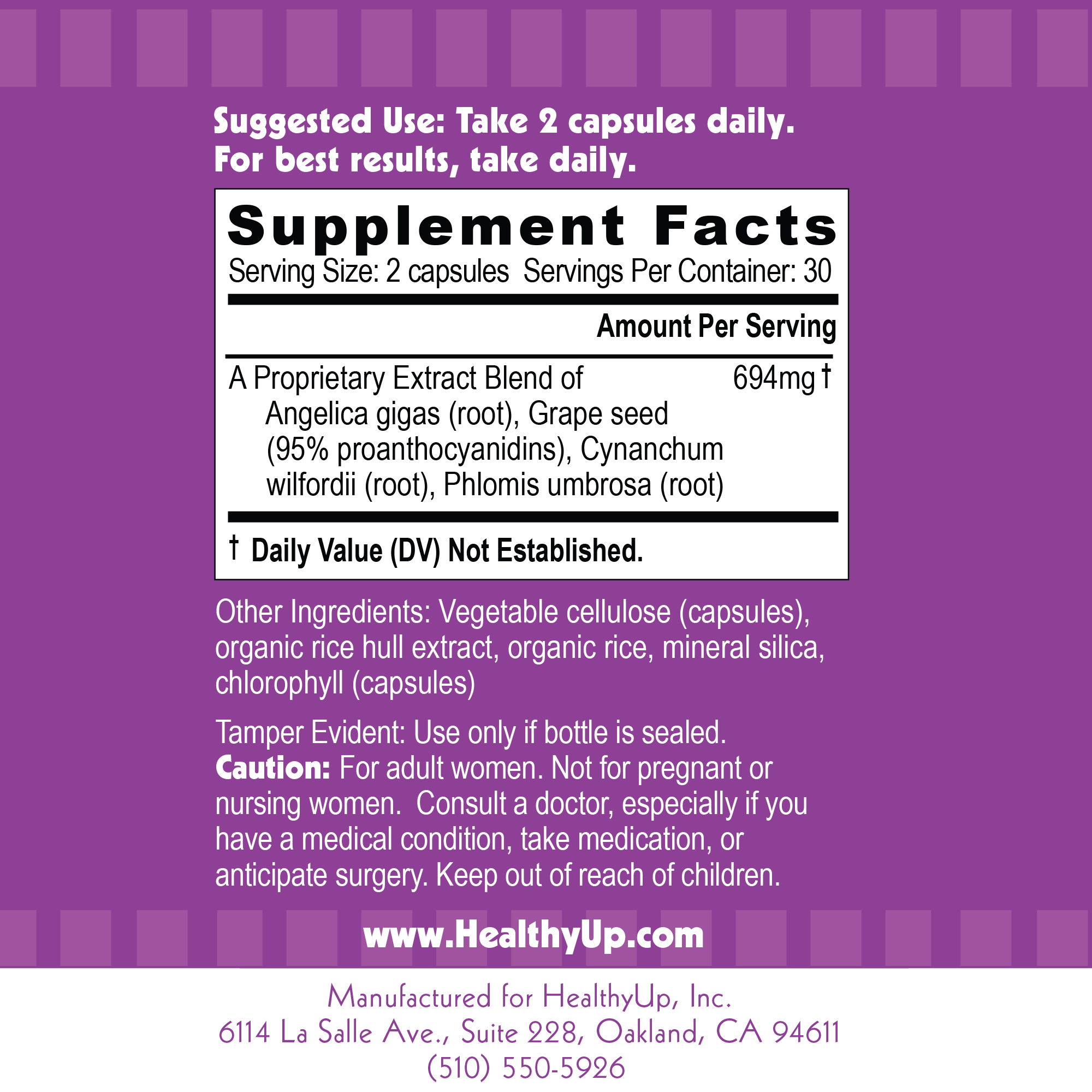 HealthyUp Supplement Facts Label