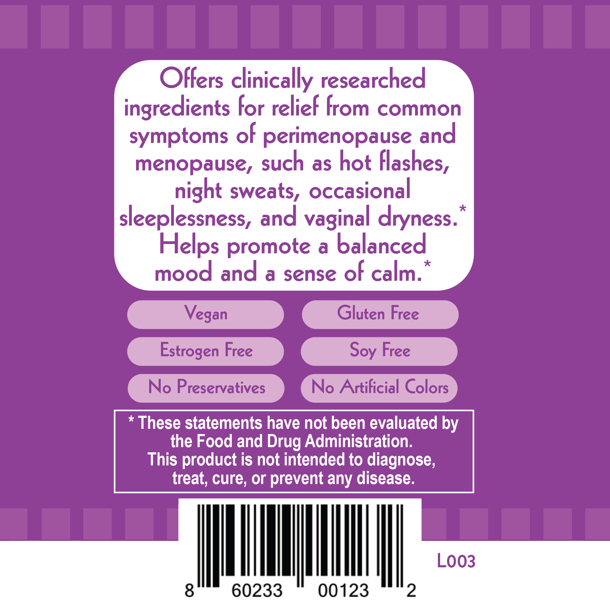 HealthyUp Botanical Menopause Relief Product Label