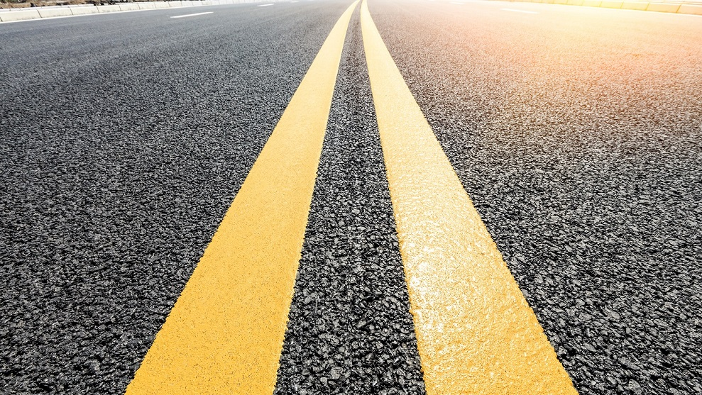 yellow lines on a highway