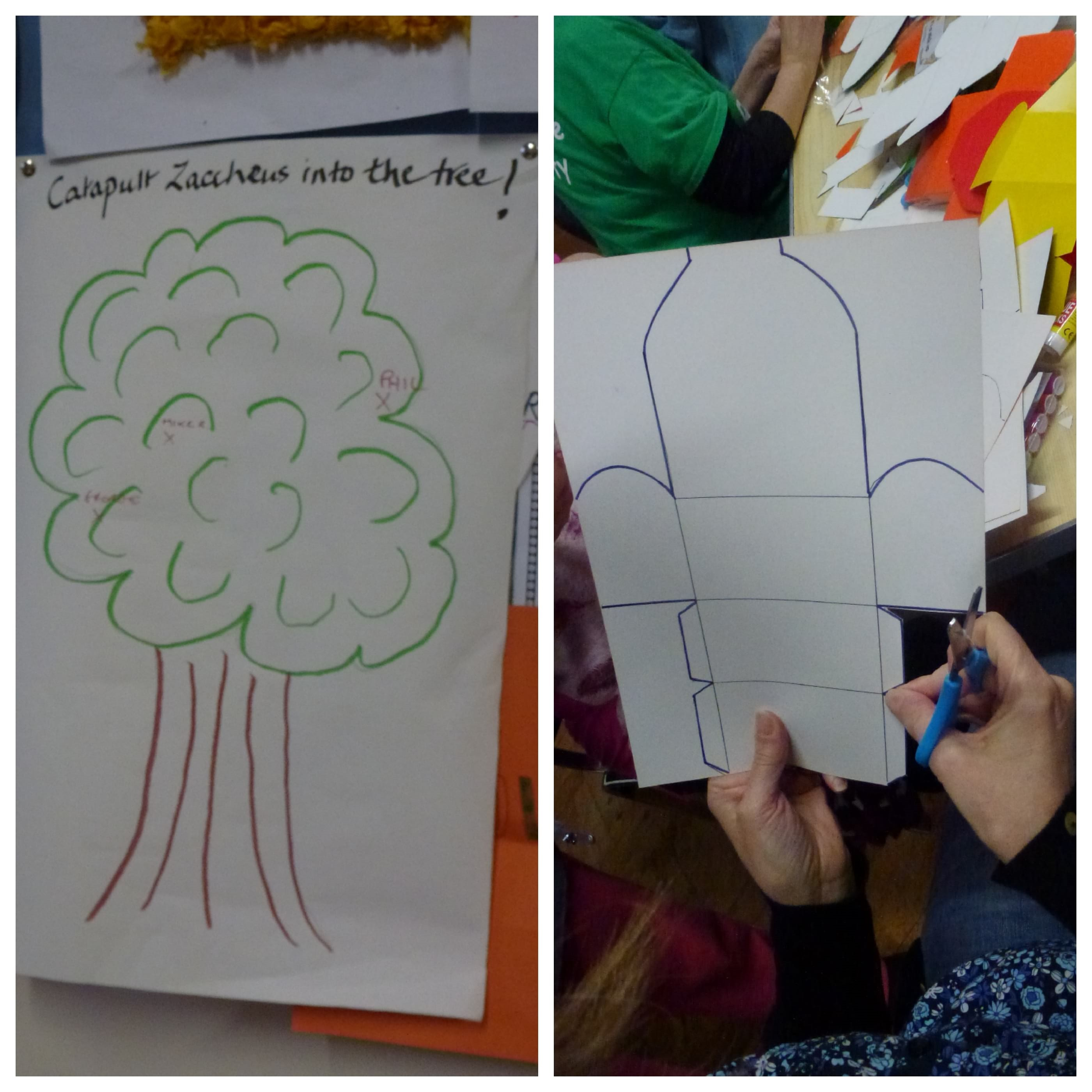 Some activities from March Messy Church. Catapault Zacchaeus into a tree and making a treasure chest.