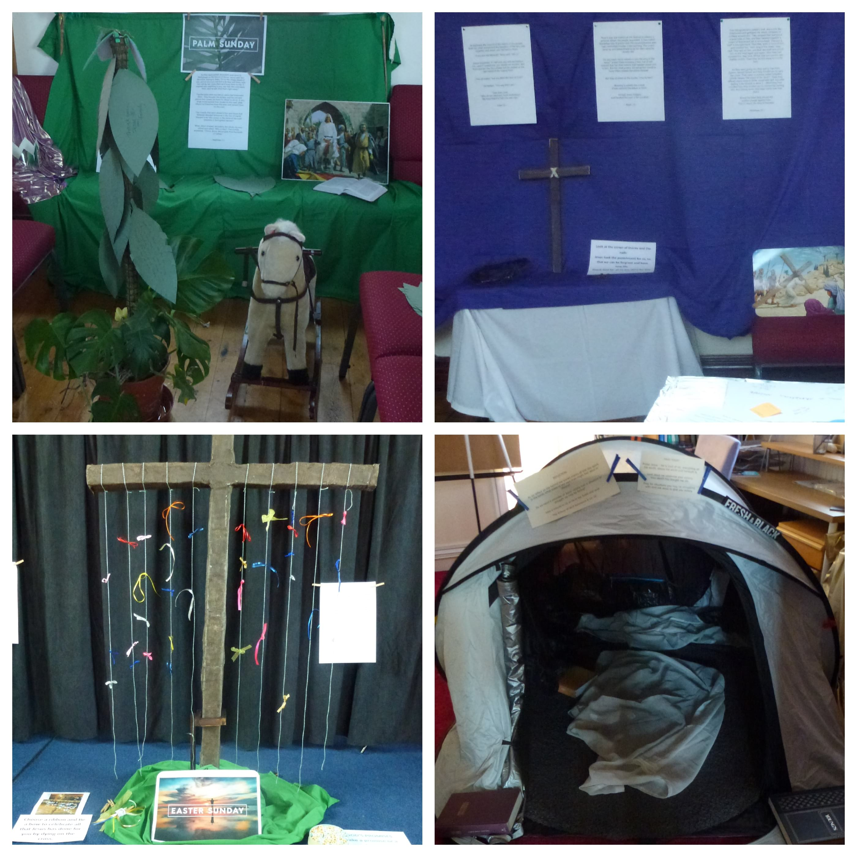 Part of our prayer room. Here are 4 of the 8 days depicted from Palm Sunday to Easter Sunday