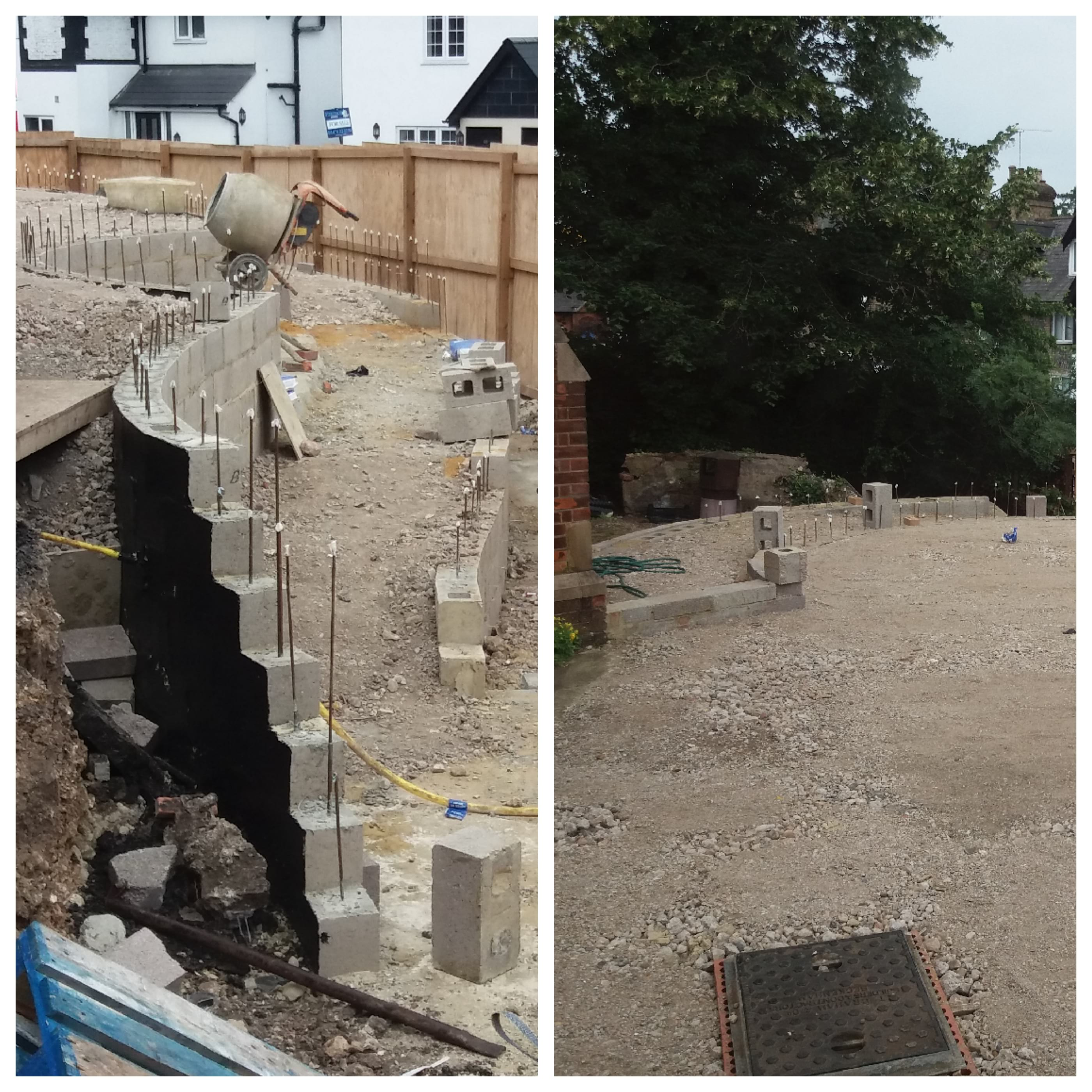 14.07.19 - Views of the works behind our hoarding at the front of the church. The curved ramp is taking shape and the landing area is now levelled.