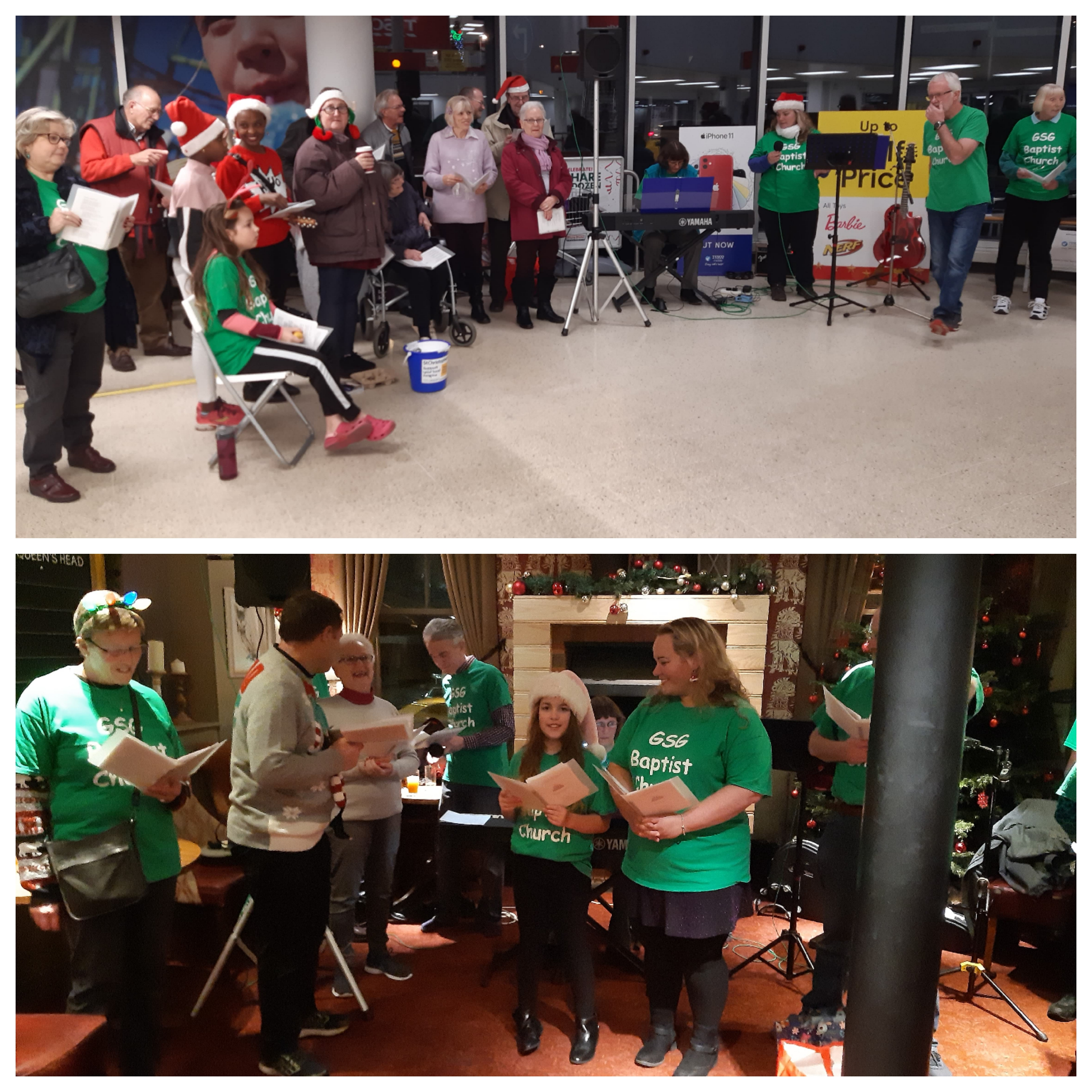 Carol singing at Orpington Tesco and in the Queens Head Green Street Green