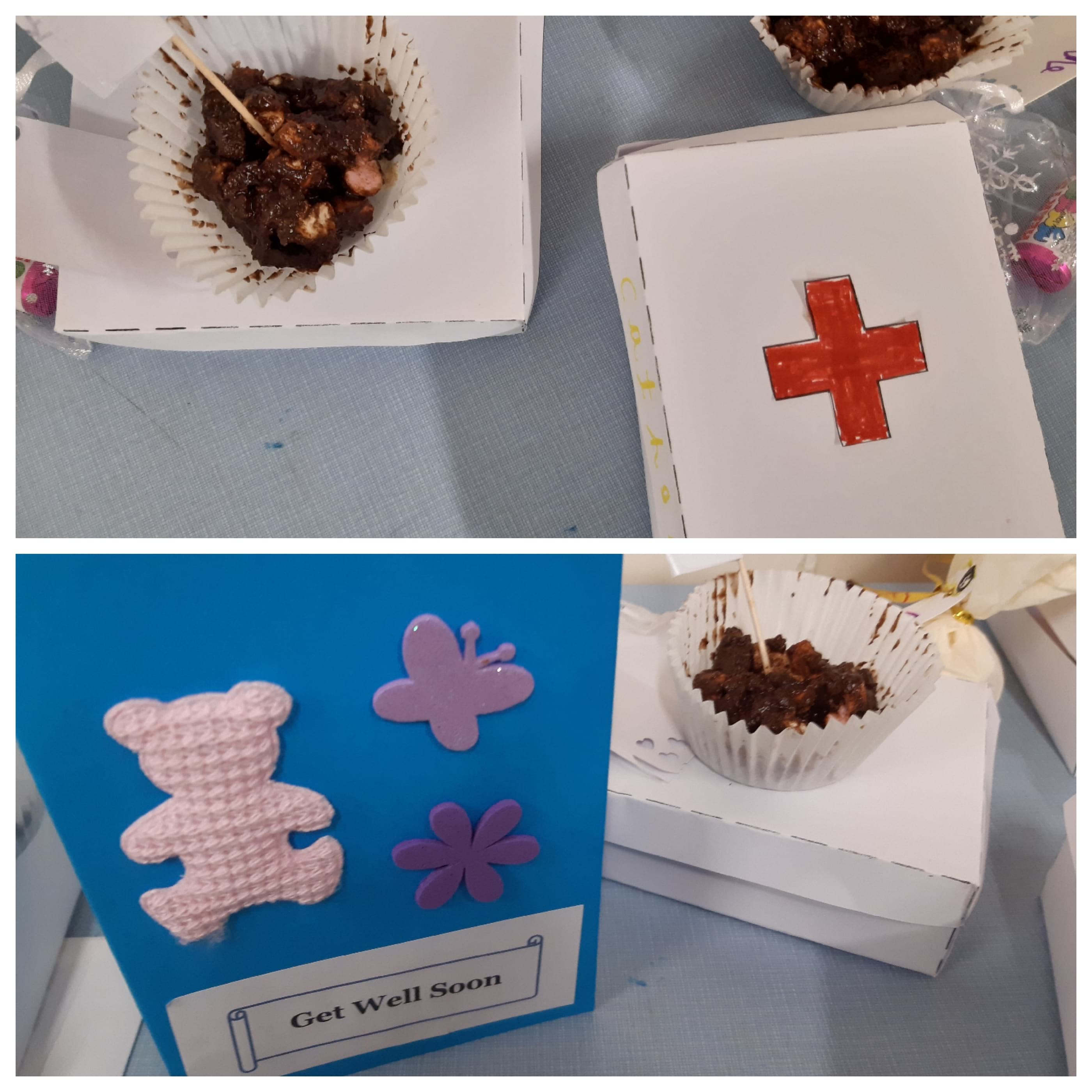 Our February Messy Church was entitled The Good Samaritan. We did bandaging, made a first aid box, Rocky road cakes, Get well card, Money bag with chocolate coins and love heart gift bag.