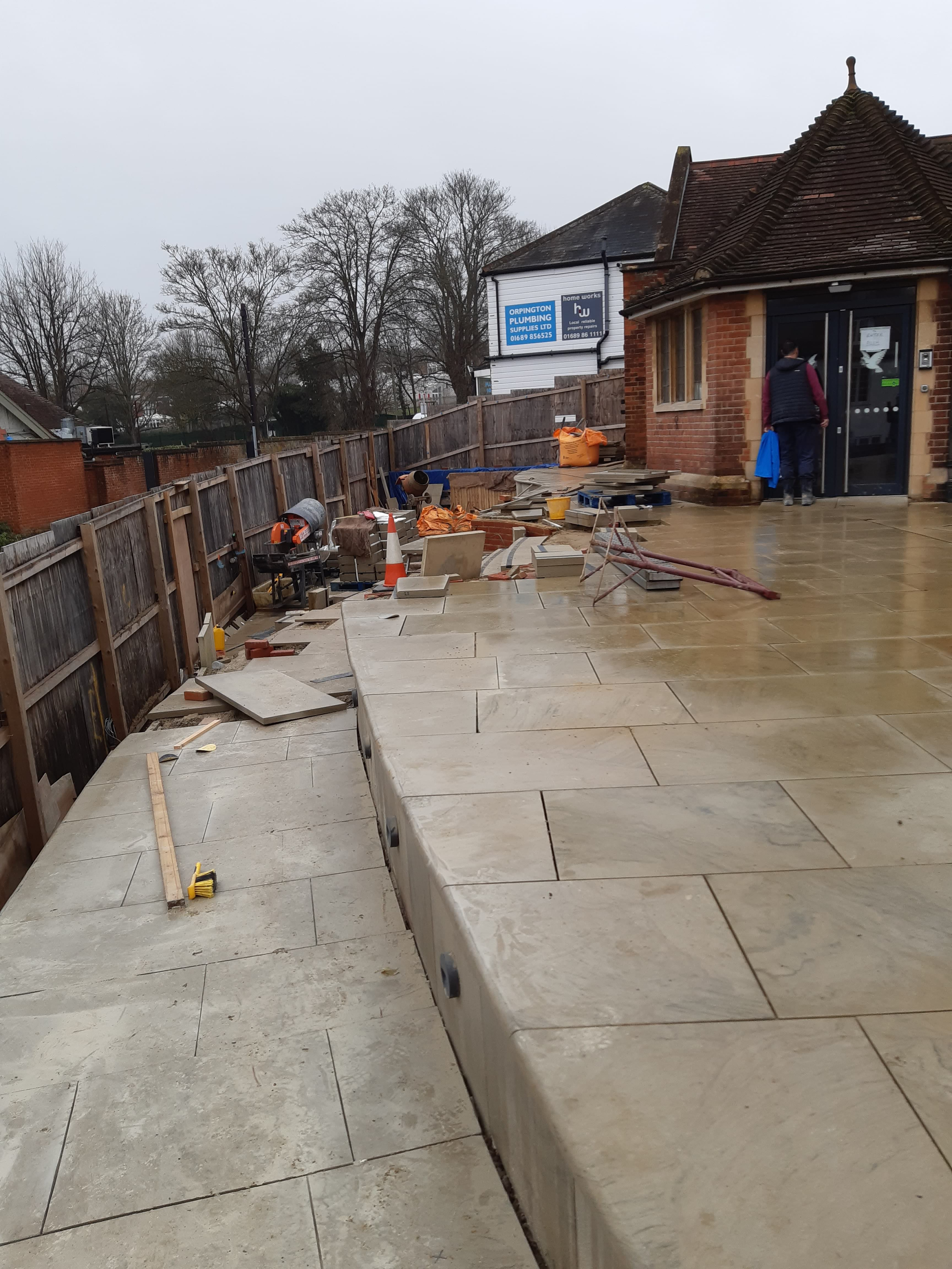 26.01.20 - View of the works at the front of the church. Here looking down the ramp towards the steps.