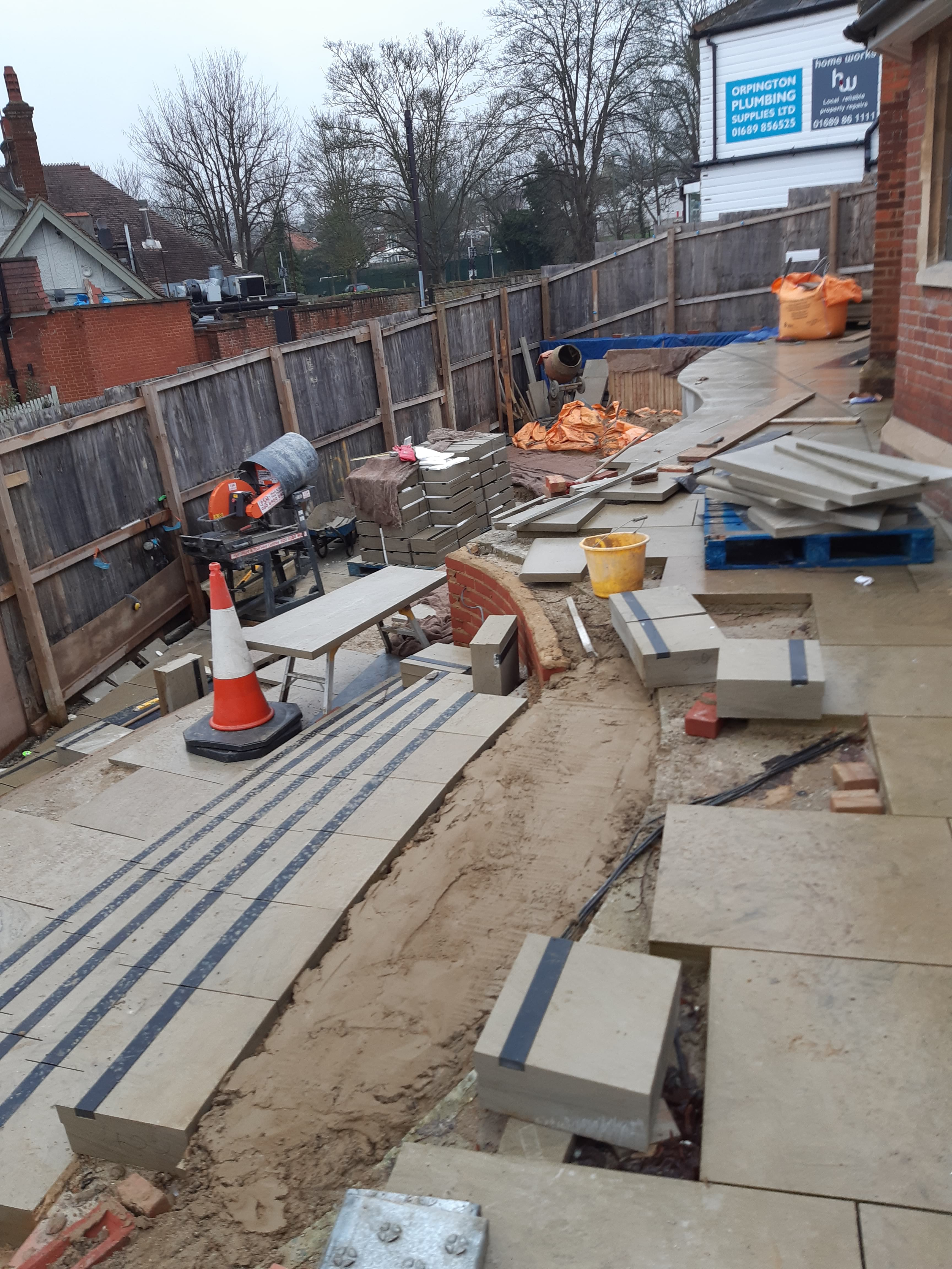 26.01.20. The works at the front of the church. Here are the steps taking shape with their complex curves