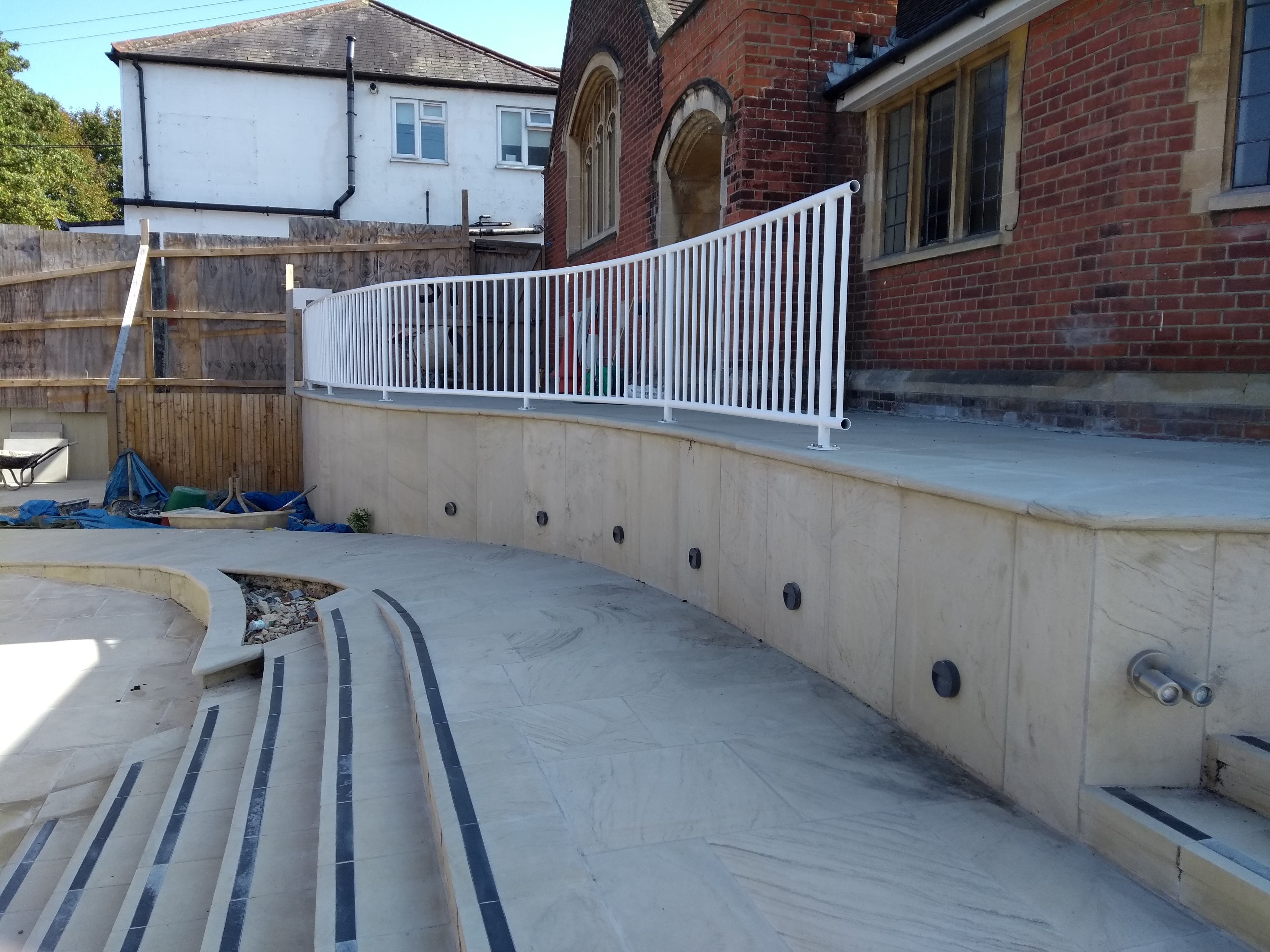 18.09.20 Handrails at the front of the church taking shape.