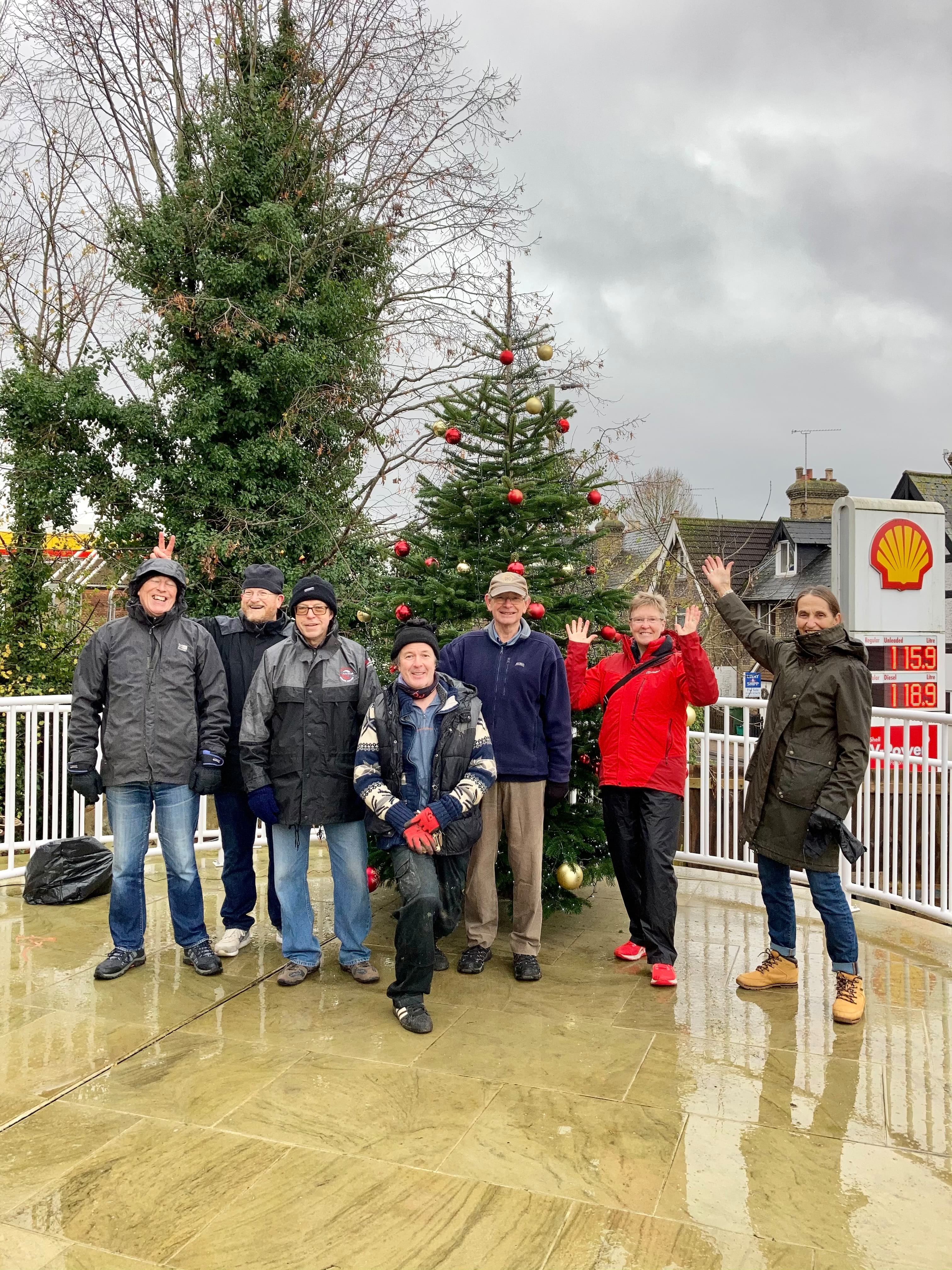 Our group of workers putting the Christmas tree up
