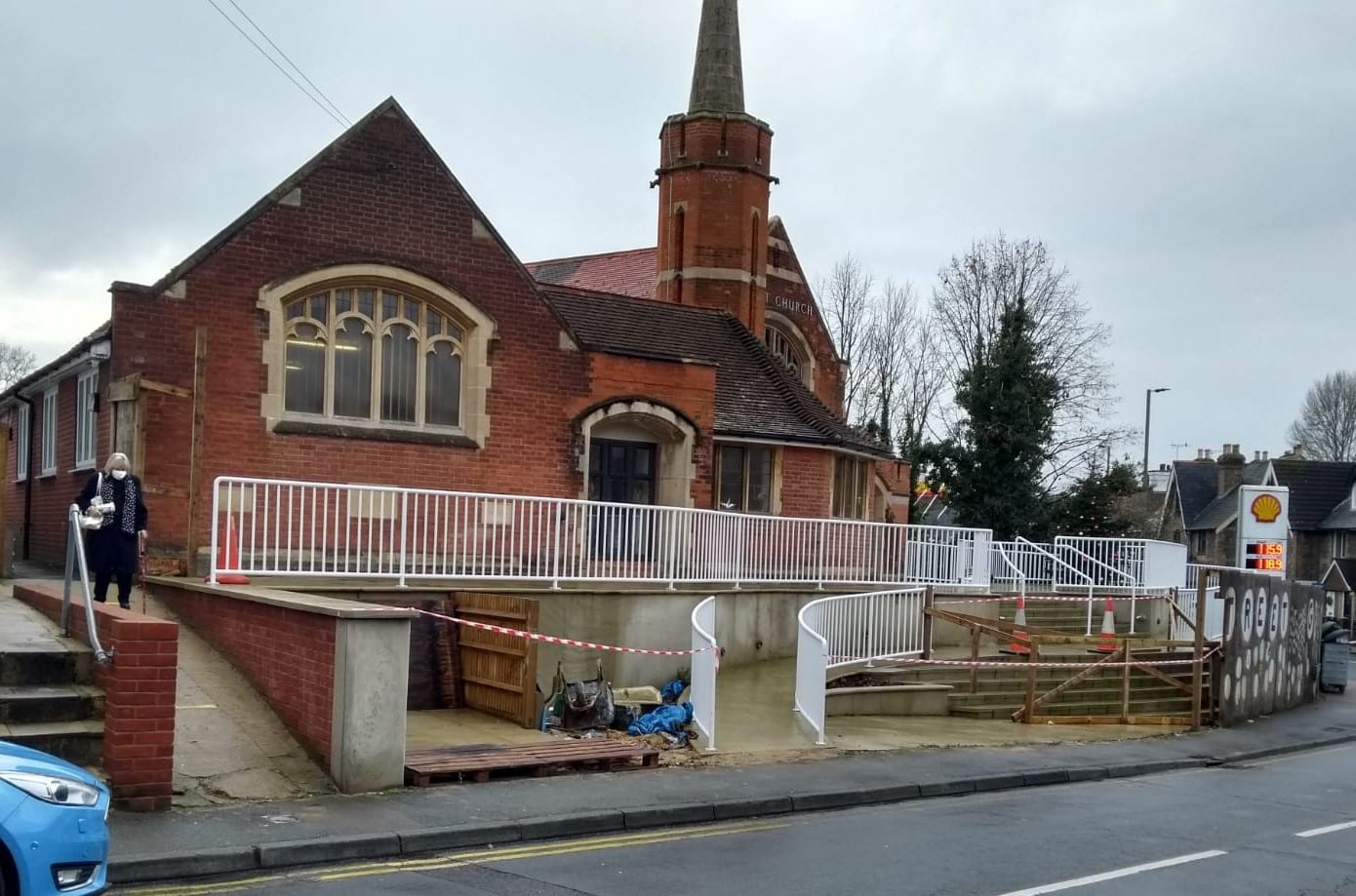 06.12.20 The hoarding is coming down at the front of the church.