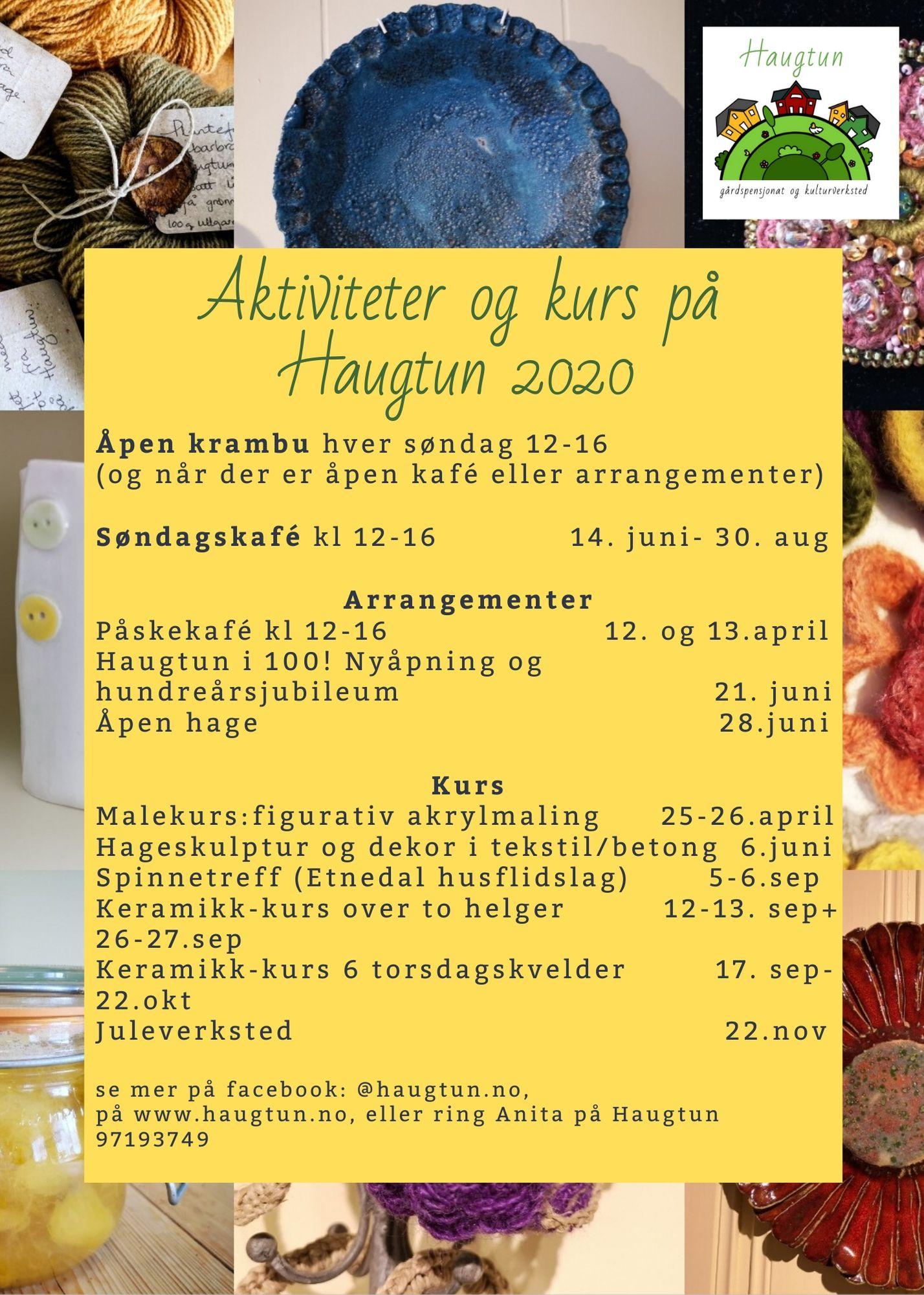 Aktiviteter og kurs på Haugtun 2020