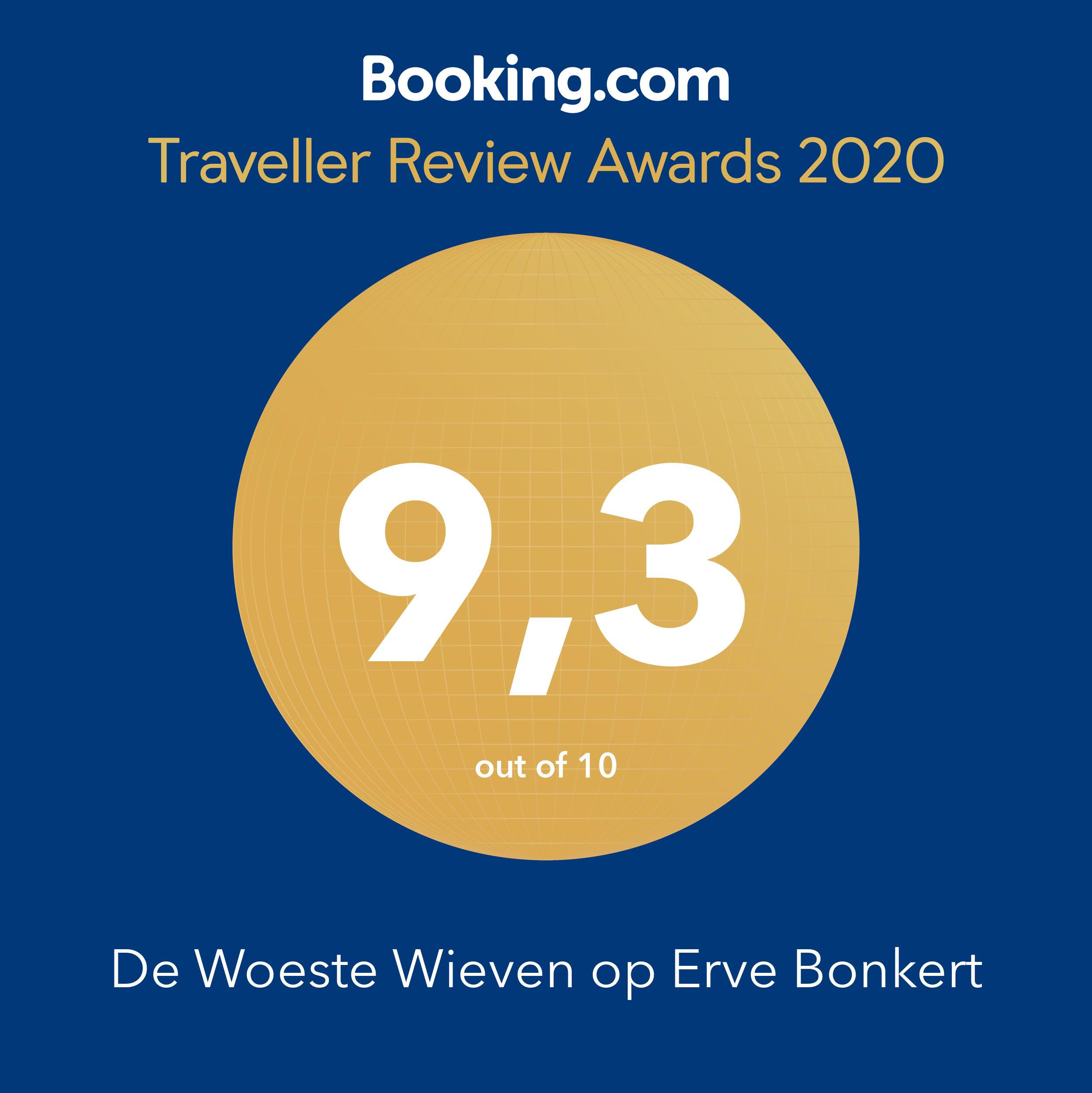 Booking.com award 2020 - De Woeste Wieven op Erve Bonkert