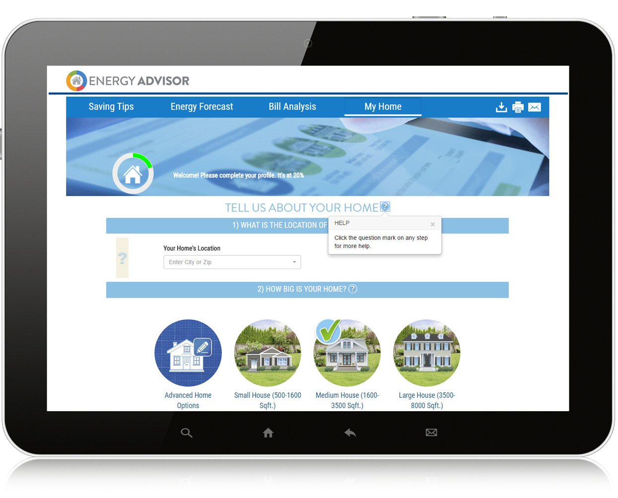 Tablet showing online energy advisor