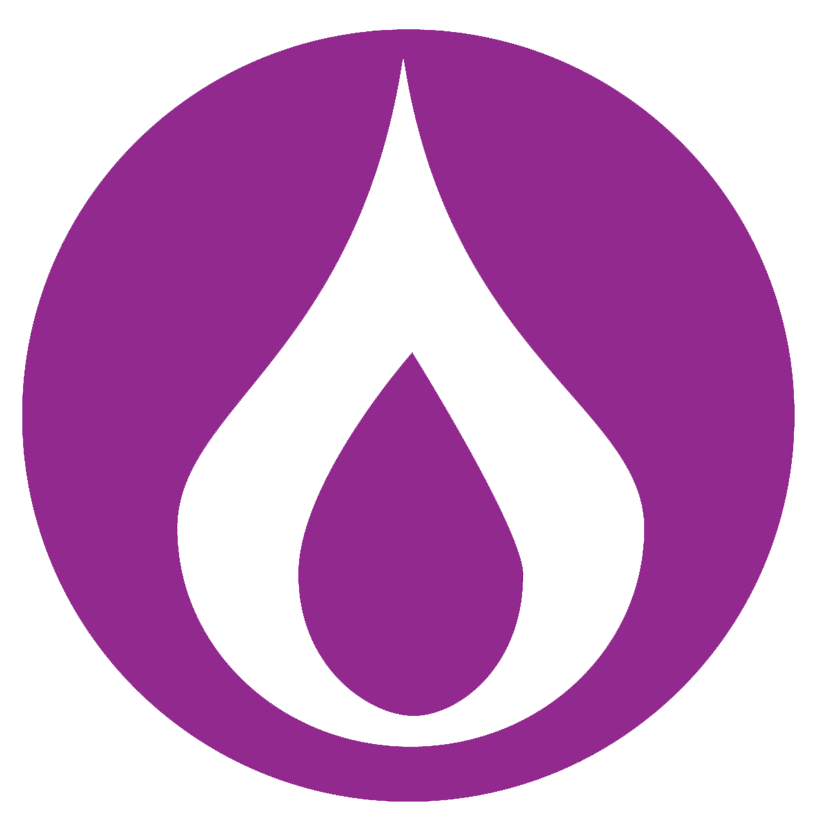 Flame icon on purple background