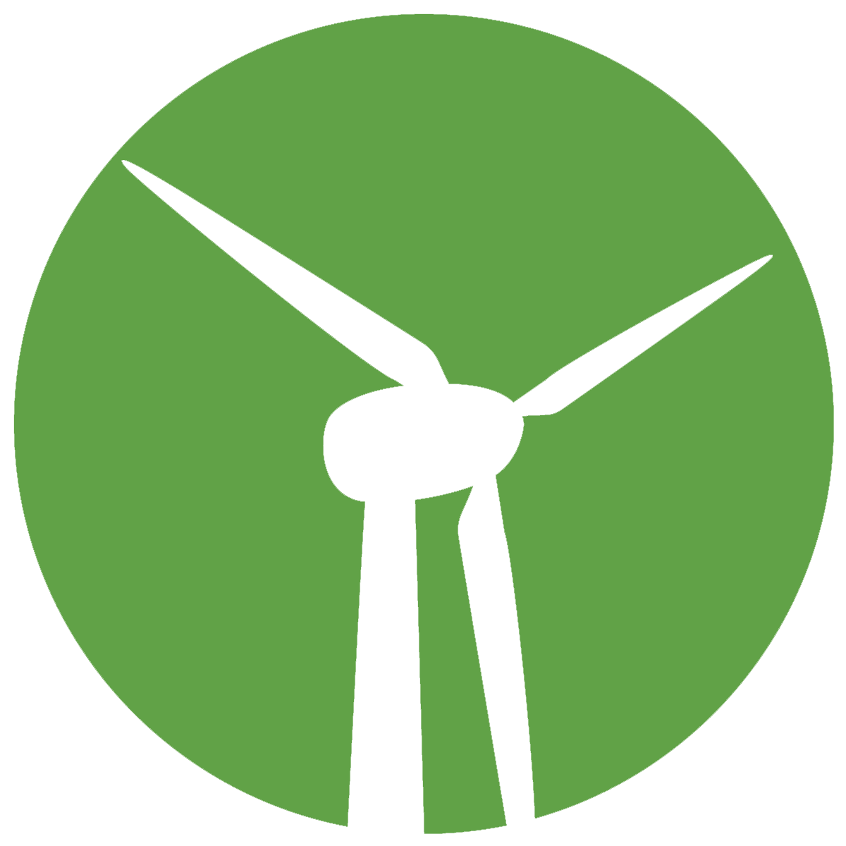 绿色背景上的风力涡轮机图标