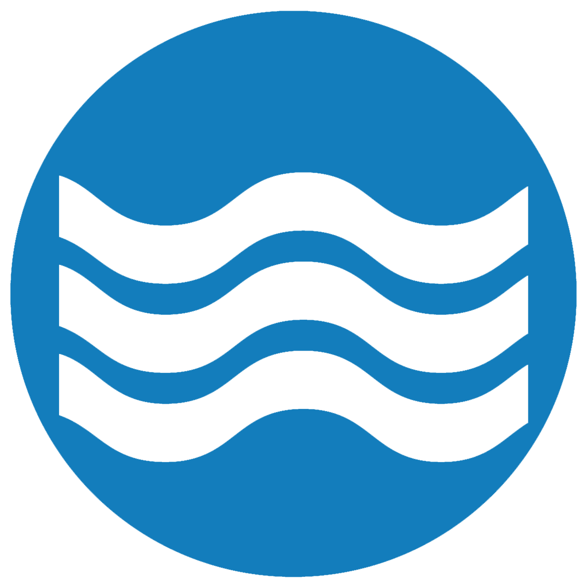 Wave icon on blue background