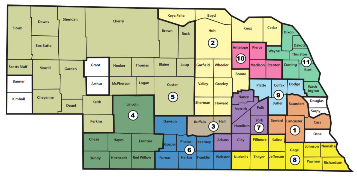 Nebraska map with numbers showing Director subdivisions