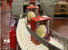 Ice cream cartons on conveyor belt