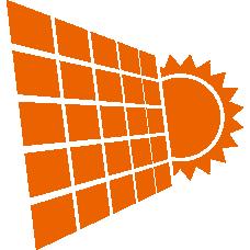 带有太阳图标的太阳能电池板