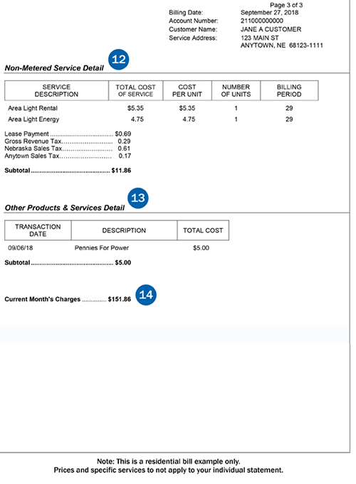 Residential bill example of page 3