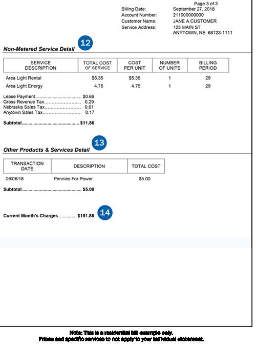 第3页的住宅帐单示例