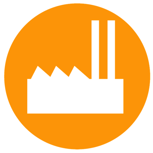 Coal plant icon on orange background