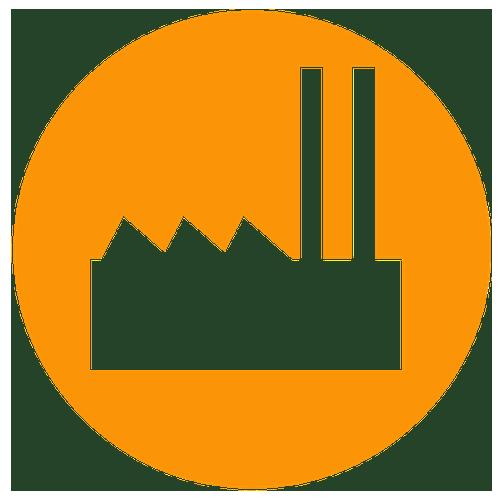 Coal plant icon on orange background