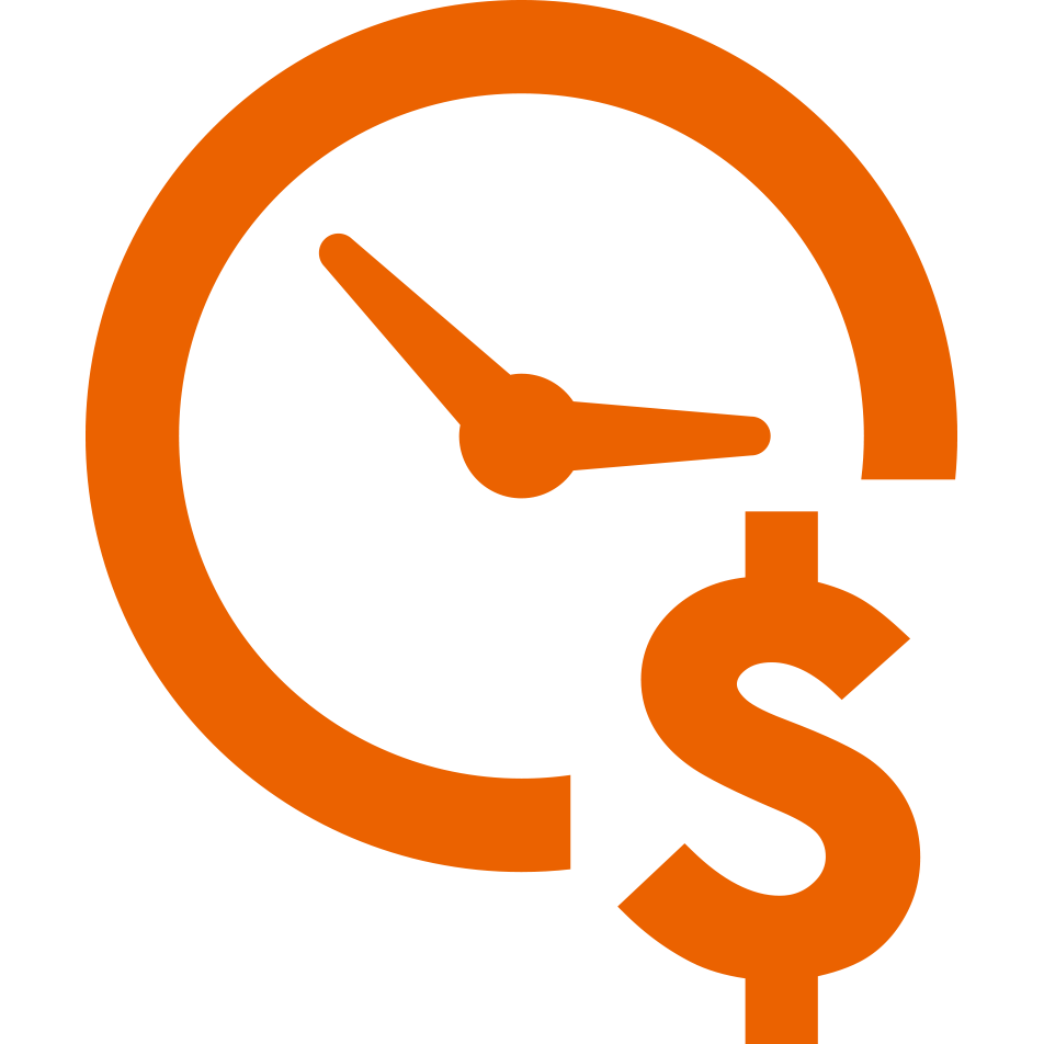 Icon of clock with dollar sign