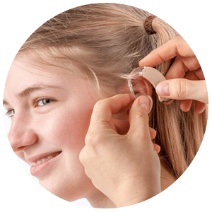 Our care of hearing loss includes hearing aids for children.