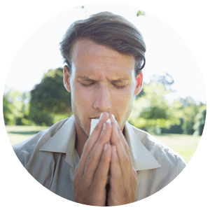 Man suffering from chronic sinusitis