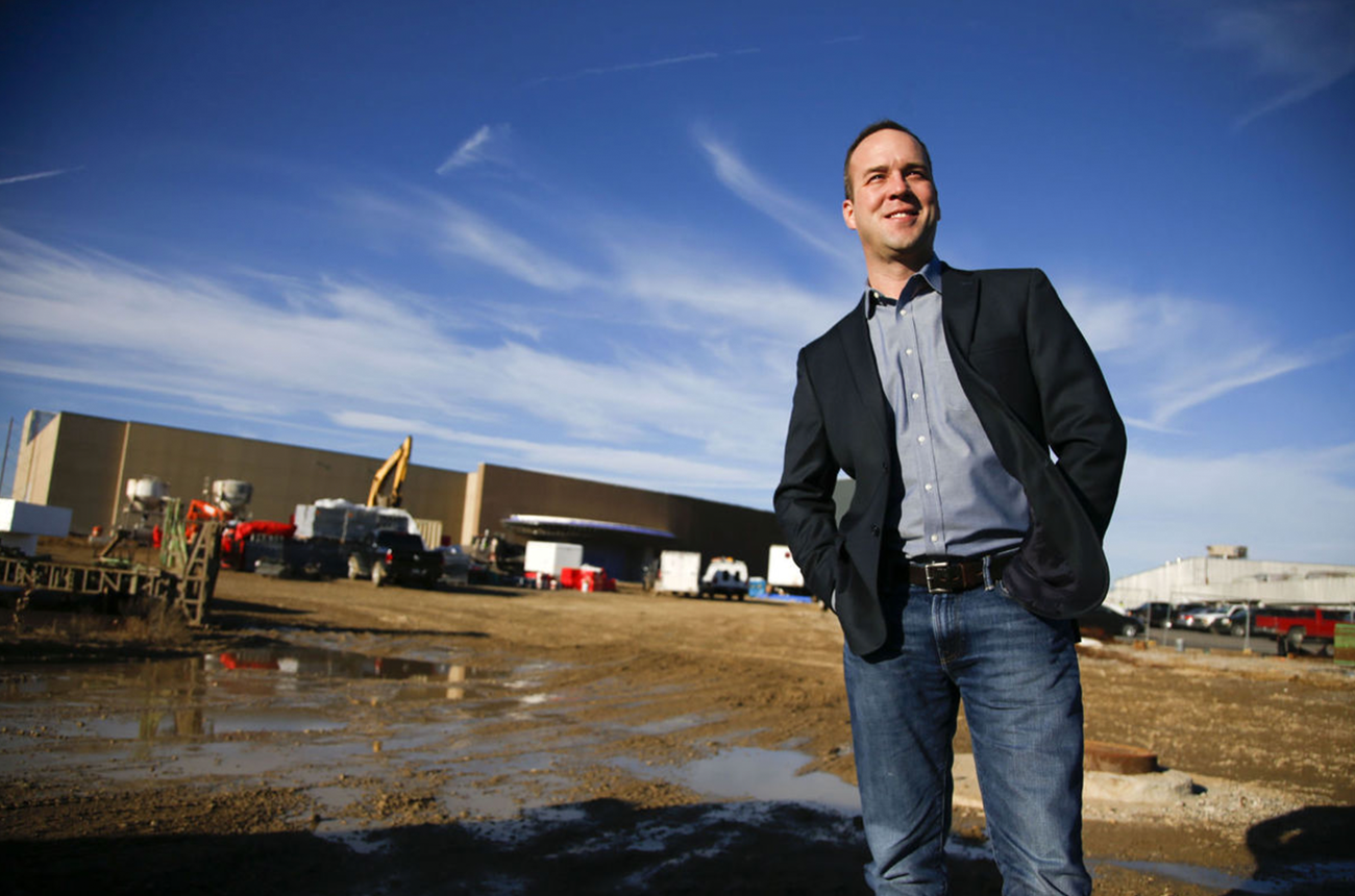 Geoff Lowe, president of Forza Construction Services and Forza Contracting and Development, stands in front of the Osage Casino in Tulsa.