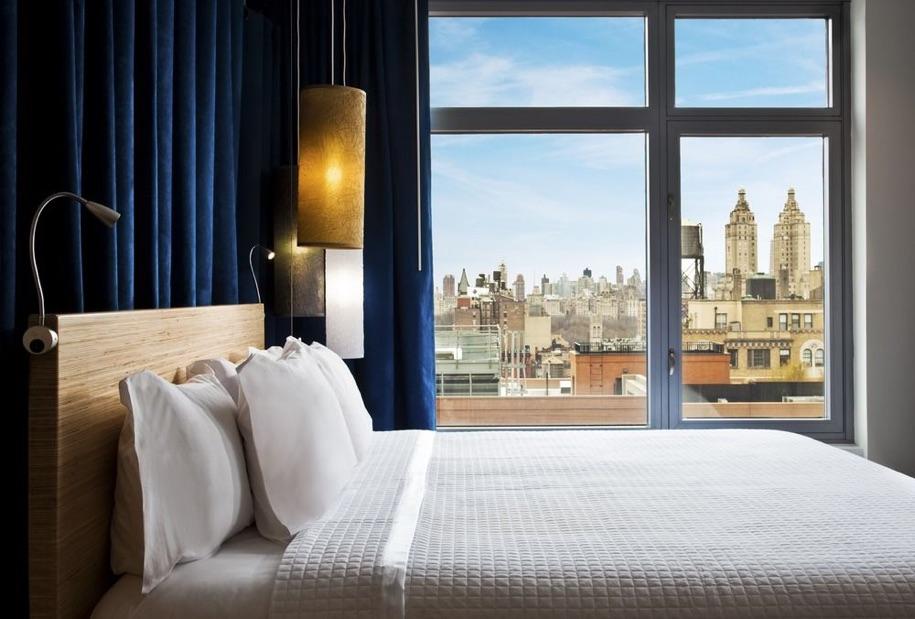 A sample hotel room.