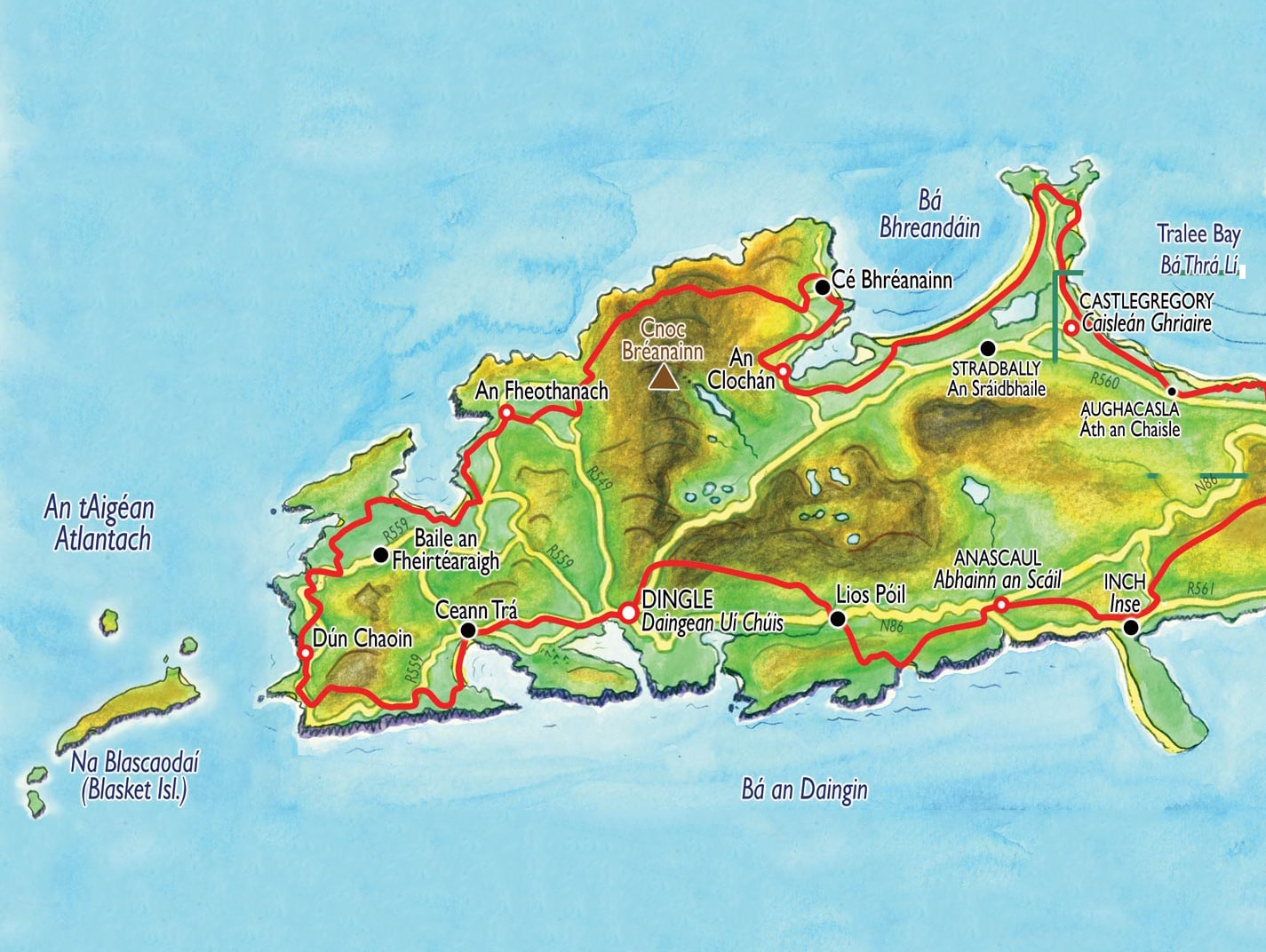 Blue, green and yellow hand drawn map of the Dingle Peninsula used as example of web design Kerry